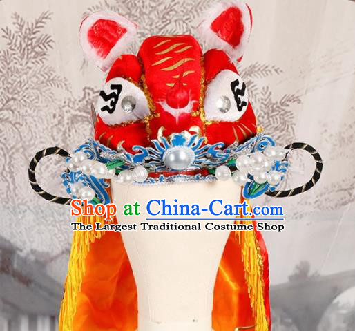 Chinese Traditional Beijing Opera Takefu Headwear Ancient Warrior Red Tiger Head Hat