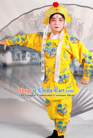 Chinese Traditional Beijing Opera Takefu Yellow Costume Ancient Imperial Bodyguard Clothing