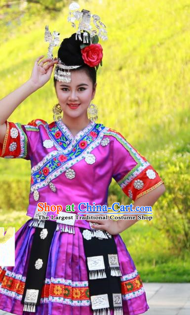 Chinese Traditional Miao Nationality Costume Ethnic Folk Dance Rosy Dress for Women