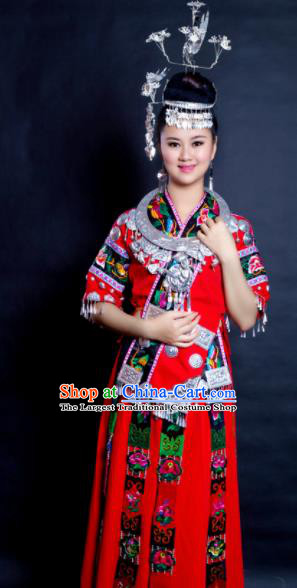 Chinese Traditional Miao Nationality Wedding Costume Hmong Ethnic Folk Dance Red Dress for Women