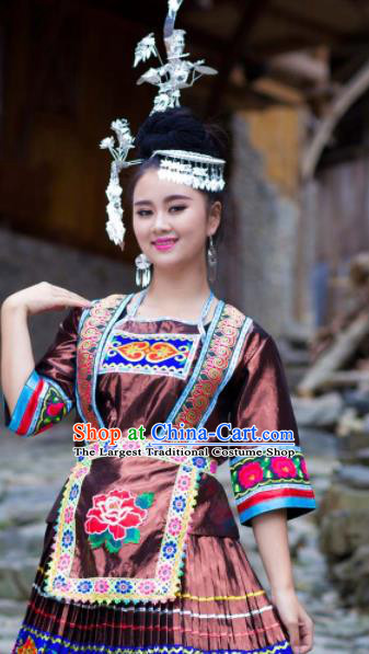 Chinese Traditional Miao Nationality Costume Hmong Ethnic Brown Pleated Skirt for Women