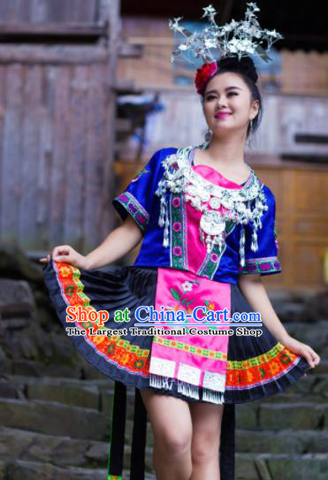 Chinese Traditional Miao Nationality Costume Hmong Ethnic Blue Pleated Skirt for Women