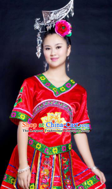 Chinese Traditional Miao Nationality Red Costume Hmong Ethnic Folk Dance Pleated Skirt for Women