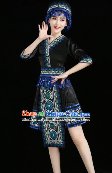 Chinese Traditional Zhuang Nationality Costume Ethnic Folk Dance Black Pleated Skirt for Women