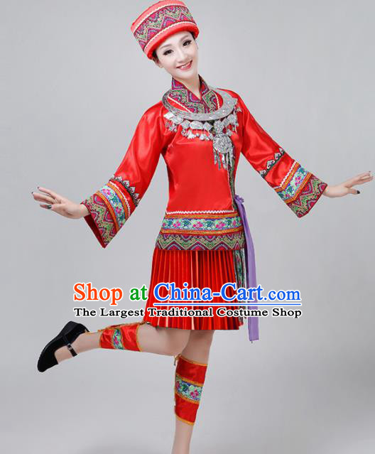 Chinese Traditional Dong Nationality Costume Ethnic Folk Dance Red Pleated Skirt for Women