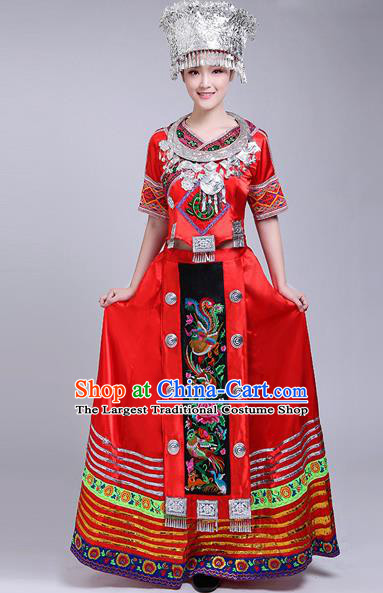 Chinese Traditional Miao Nationality Female Costume Ethnic Folk Dance Red Dress for Women