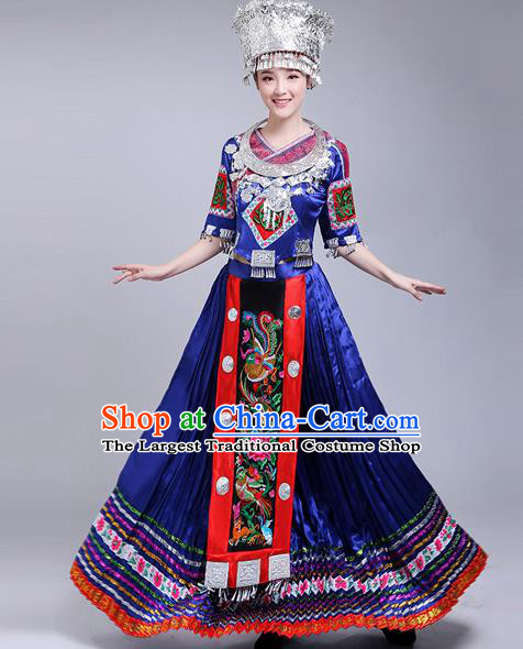 Chinese Traditional Miao Nationality Female Costume Ethnic Folk Dance Royalblue Dress for Women