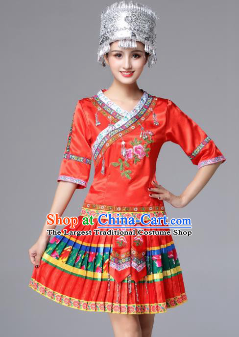 Chinese Traditional Miao Nationality Female Red Costume Ethnic Folk Dance Pleated Skirt for Women