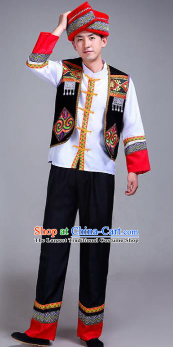 Chinese Traditional Zhuang Nationality Male Costume Ethnic Folk Dance Black Clothing for Men