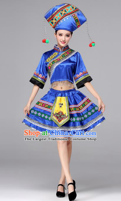 Chinese Traditional Zhuang Nationality Female Costume Ethnic Folk Dance Bride Blue Short Pleated Skirt for Women