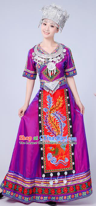 Chinese Traditional Miao Nationality Costume Hmong Female Ethnic Folk Dance Purple Long Dress for Women