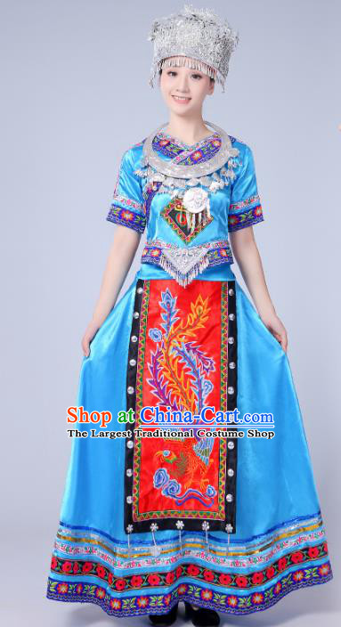 Chinese Traditional Miao Nationality Costume Hmong Female Ethnic Folk Dance Blue Long Dress for Women
