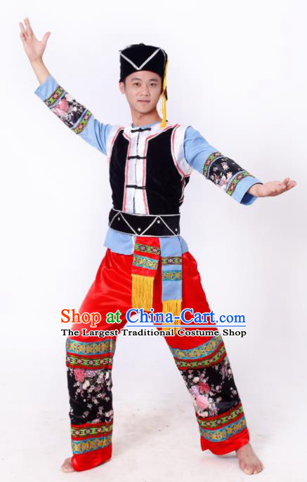 Chinese Traditional Li Nationality Male Costume Ethnic Bridegroom Folk Dance Clothing for Men
