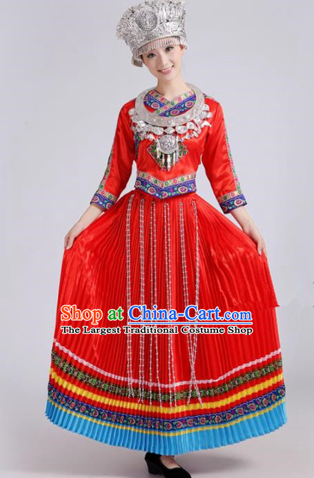 Chinese Traditional Miao Nationality Female Costume Hmong Ethnic Folk Dance Red Pleated Skirt for Women