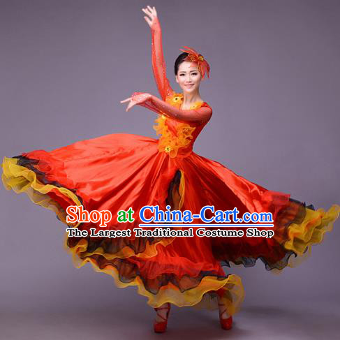 Top Grade Opening Dance Modern Dance Costume Classical Chorus Group Red Dress for Women