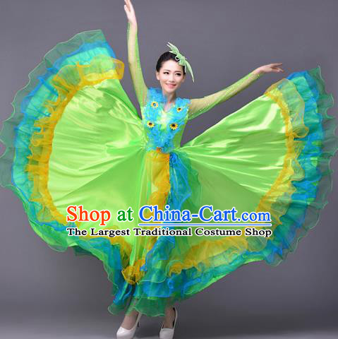 Top Grade Opening Dance Modern Dance Costume Classical Chorus Group Green Dress for Women
