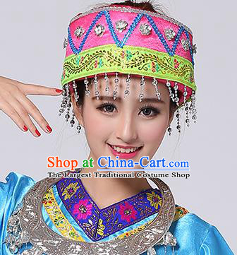 Chinese Traditional Miao Nationality Hair Accessories Hmong Bride Pink Hat for Women