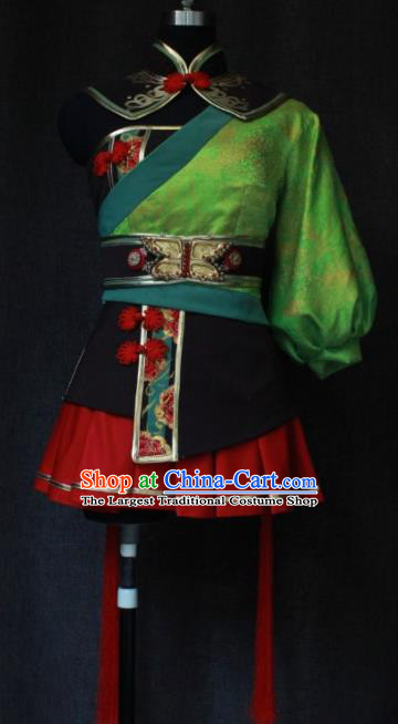 Chinese Traditional Cosplay Female Knight Costume Ancient Swordswoman Green Clothing for Women
