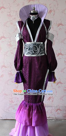 Chinese Traditional Cosplay Female Knight Costume Ancient Female Swordswoman Purple Dress for Women