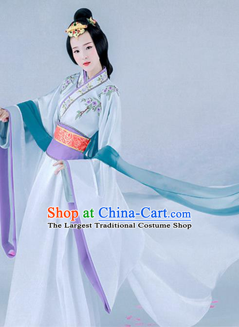 Chinese Ancient Peri Hanfu Dress Traditional Han Dynasty Imperial Consort Costume and Headpiece for Women