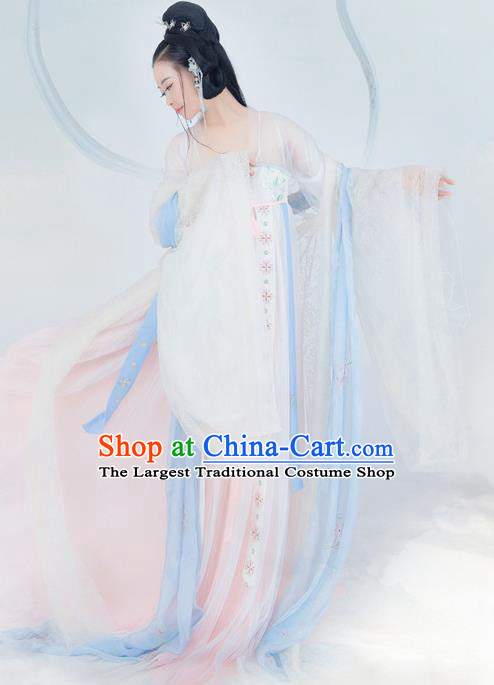 Chinese Ancient Peri Princess Costume Traditional Tang Dynasty Palace Lady Hanfu Dress and Headpiece for Women