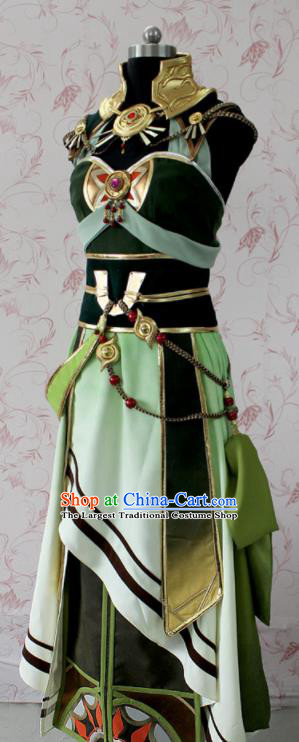 Chinese Ancient Swordswoman Costume Traditional Cosplay Peri Green Dress for Women