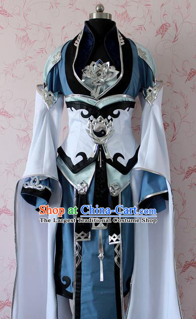 Chinese Ancient Swordswoman Peri Costume Traditional Cosplay Princess Dress for Women