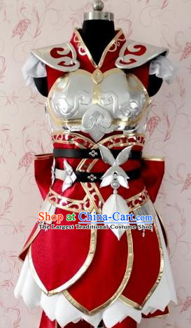 Chinese Ancient Female Swordsman Costume Traditional Cosplay Peri Armor Dress for Women