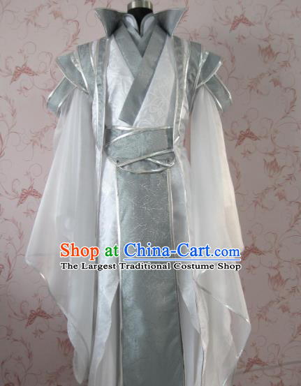 Chinese Ancient General Swordsman White Costume Traditional Cosplay Nobility Childe Clothing for Men