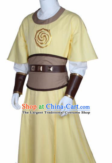 Chinese Ancient Imperial Bodyguard Yellow Costume Traditional Cosplay Swordsman Clothing for Men