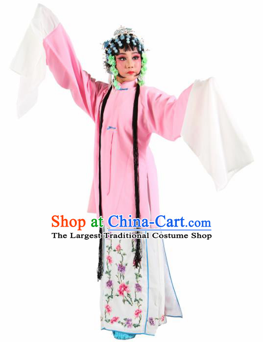 Traditional Chinese Beijing Opera Children Costume Peking Opera Diva Pink Cloak for Kids