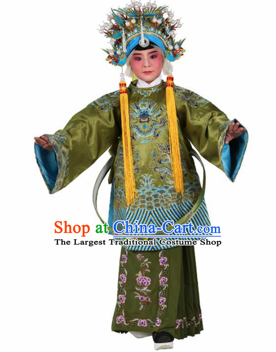 Traditional Chinese Beijing Opera Children Costume Peking Opera Pantaloon Green Embroidered Robe for Kids