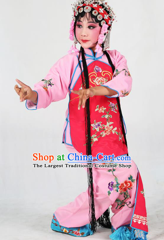 Traditional Chinese Beijing Opera Children Costume Peking Opera Maidservants Rosy Vest Clothing for Kids