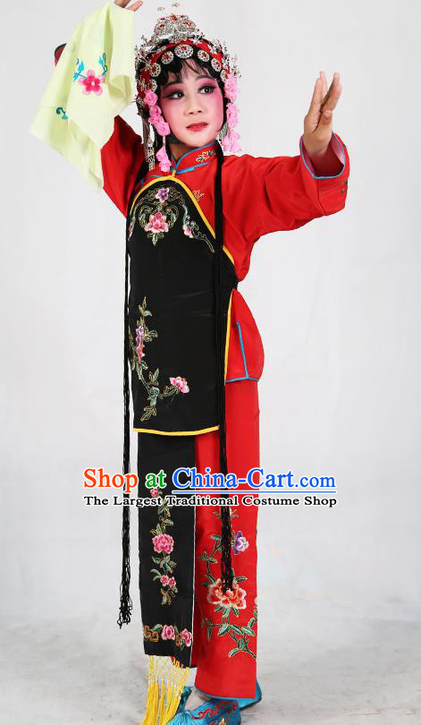 Traditional Chinese Beijing Opera Children Red Costume Peking Opera Maidservants Black Vest Clothing for Kids