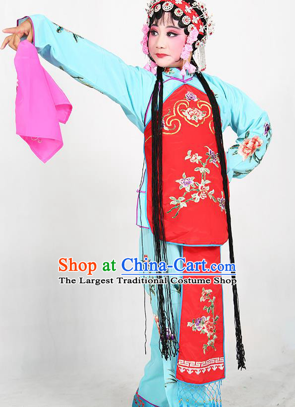 Traditional Chinese Beijing Opera Children Blue Costume Peking Opera Maidservants Red Vest Clothing for Kids