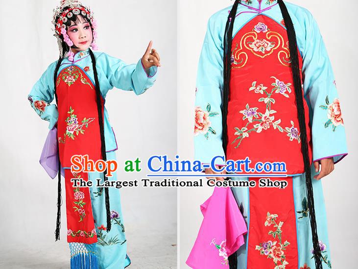 7f83e1407 Traditional Chinese Beijing Opera Children Blue Costume Peking Opera  Maidservants Red Vest Clothing for Kids
