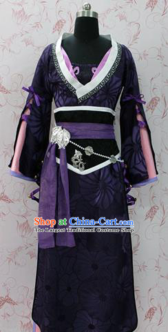 Chinese Ancient Swordswoman Costume Traditional Cosplay Princess Purple Hanfu Dress for Women