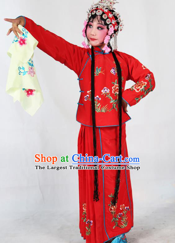 Traditional Chinese Beijing Opera Children Costume Peking Opera Maidservants Red Dress for Kids