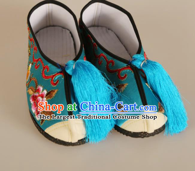Asian Chinese Beijing Opera Shoes Blue Embroidered Shoes Traditional Peking Opera Diva Shoes