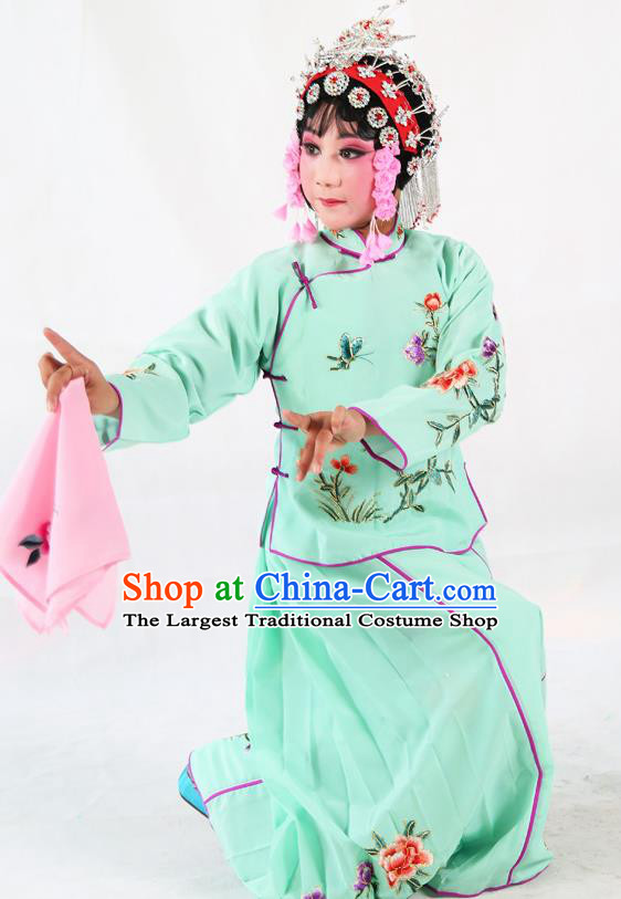 Traditional Chinese Beijing Opera Children Costume Peking Opera Maidservants Green Dress for Kids