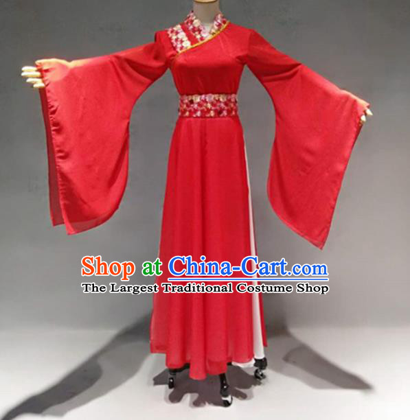 Traditional Chinese Classical Dance Costume China Ancient Apsaras Dance Red Dress for Women