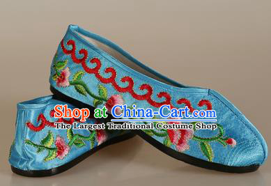 Asian Chinese Beijing Opera Shoes Embroidered Shoes Traditional Peking Opera Diva Blue Satin Shoes