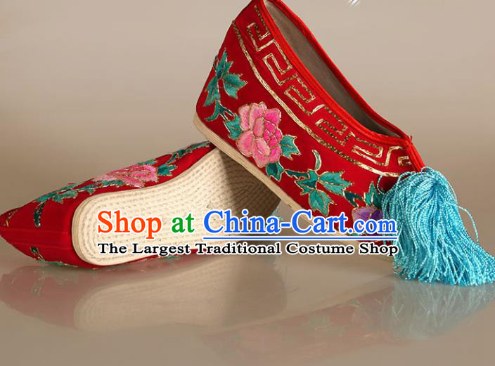 Asian Chinese Beijing Opera Shoes Princess Red Embroidered Shoes Traditional Peking Opera Diva Shoes