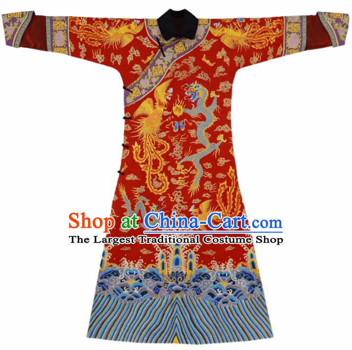 Traditional Chinese Qing Dynasty Queen Hanfu Ancient Empress Red Historical Costume for Women