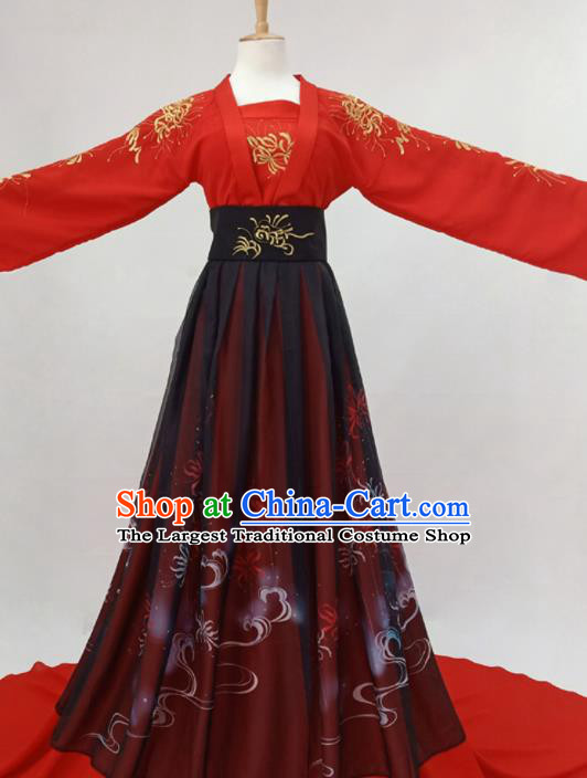 Traditional Chinese Tang Dynasty Bride Hanfu Ancient Princess Red Historical Costume for Women