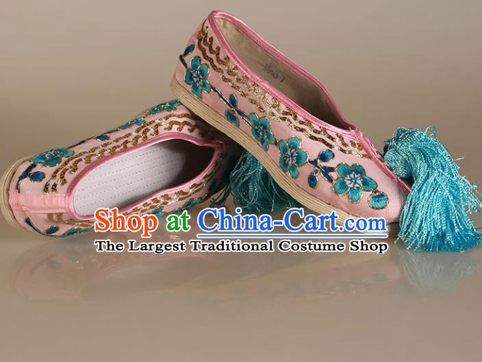 Asian Chinese Beijing Opera Shoes Pink Cloth Embroidered Shoes Traditional Peking Opera Diva Shoes