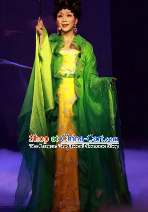 Traditional Chinese Beijing Opera Green Dress Ancient Imperial Consort Yang Historical Costume Complete Set