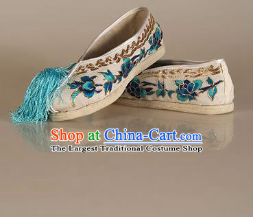 Asian Chinese Beijing Opera Shoes White Cloth Embroidered Shoes Traditional Peking Opera Diva Shoes