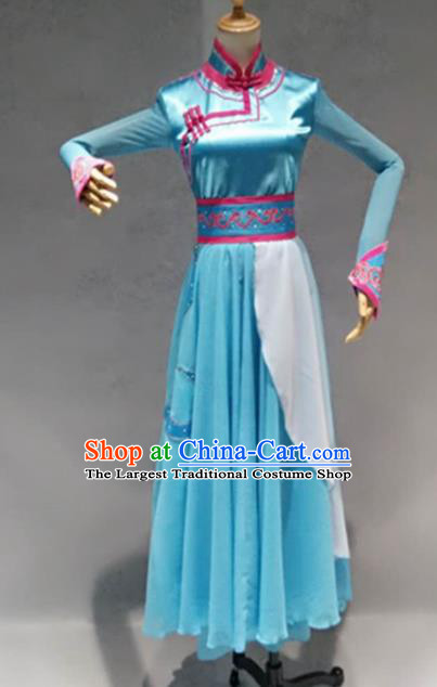 Traditional Chinese Mongol Nationality Costume Mongolion Female Folk Dance Ethnic Blue Dress for Women