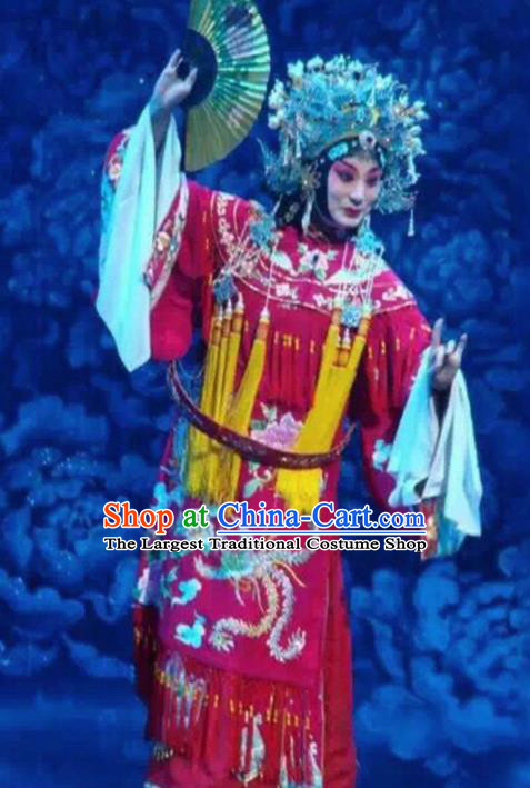 Traditional Chinese Beijing Opera Red Embroidered Robe Ancient Imperial Consort Historical Costume Complete Set